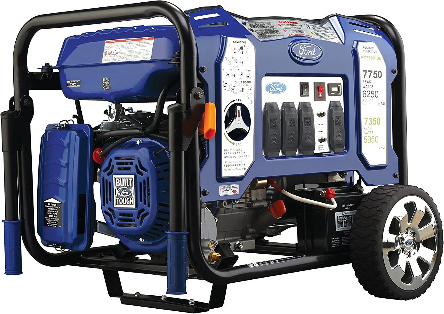 Ford 7,750W Portable Switch Go Technology and Electric Start, FG7750PBE Dual Fuel Generator