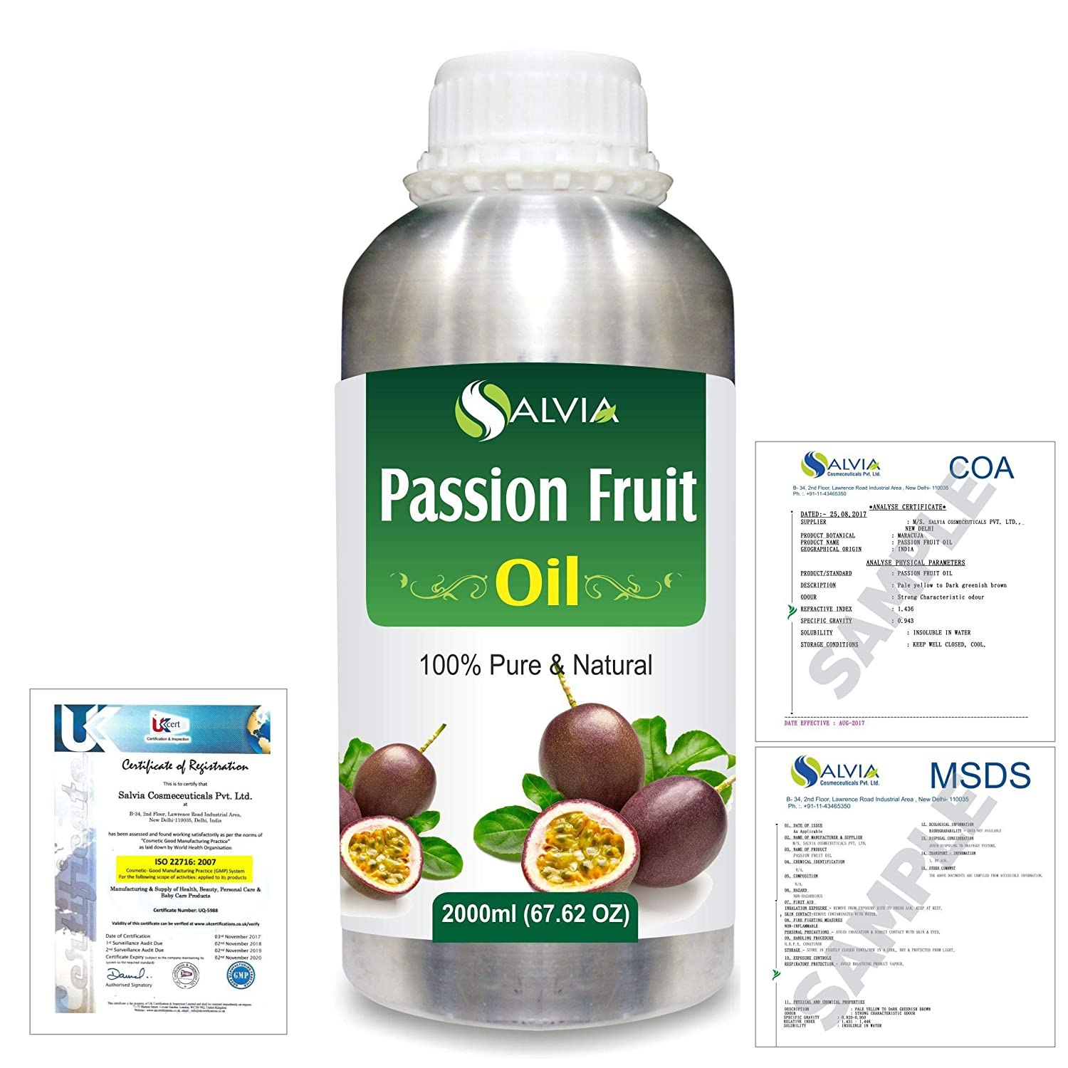 Passion Fruit (Maracuja) Natural Pure Undiluted Uncut Carrier Oil 2000ml/67 fl.oz. B07R3ZFM13