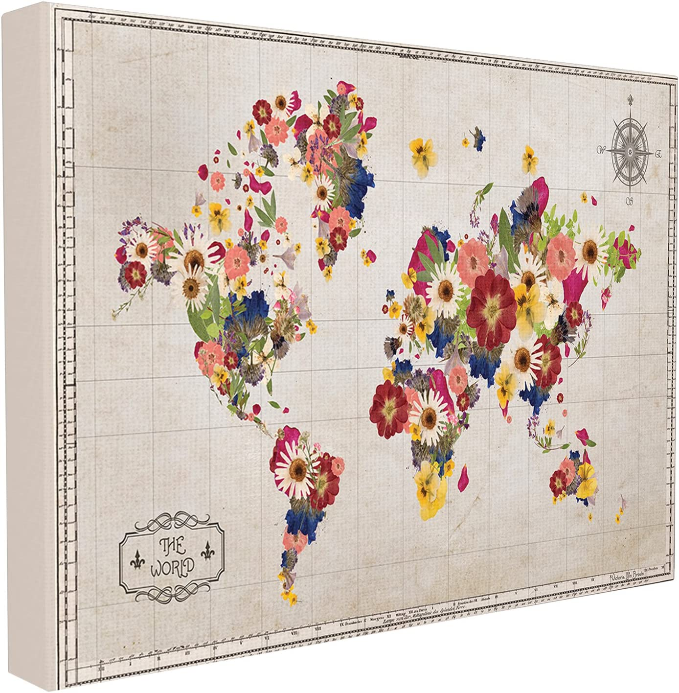 The Stupell Home Decor Collection Floral World Map Graphic Art 16 x 20 Canvas