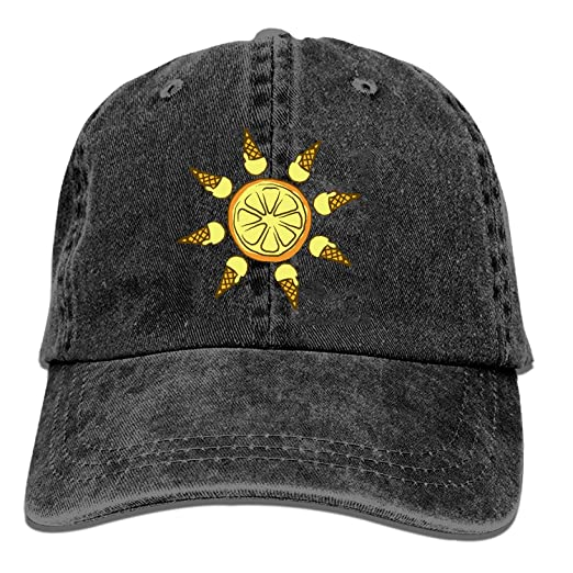 28a2df33d0a Image Unavailable. Image not available for. Color  Black Baseball Cap- Icecream Lemon Sun Trucker ...