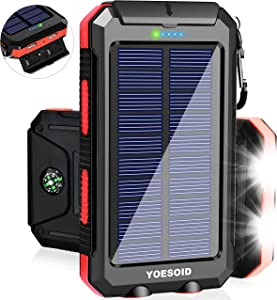 Solar Charger YOESOID 20000mAh Portable Outdoor Waterproof Solar Power Bank, Camping External Backup Battery Pack Dual 5V USB Ports Output, 2 Led Light Flashlight with Compass