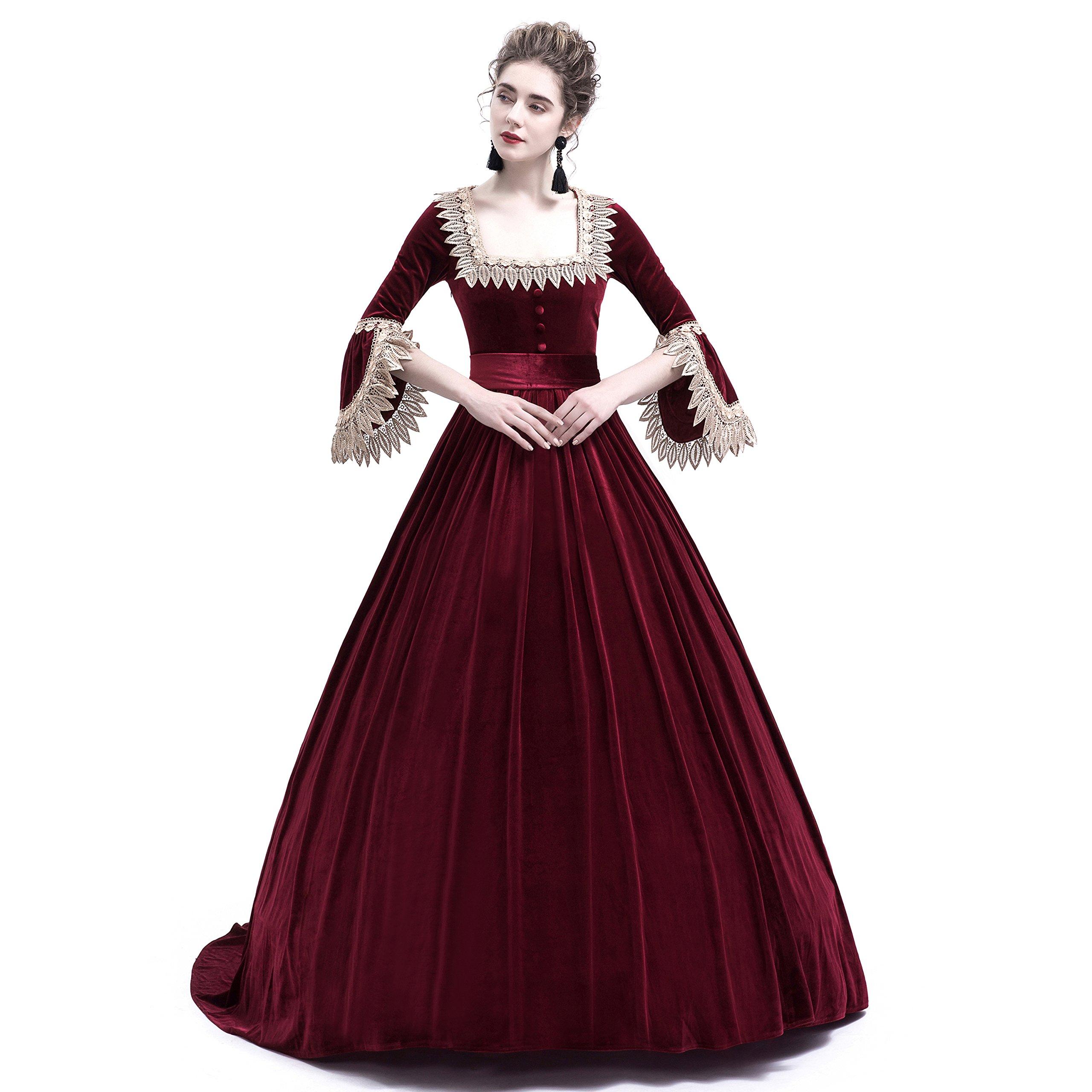 D-RoseBlooming Velvet Marie Antoinette Queen Theatrical Victorian Ball Gown Dress (Large, Red)