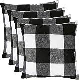 MENGT Pack of 4 Farmhouse Buffalo Check Plaid Cotton Linen Soft Solid Decorative Square Throw Pillow Covers Home Decor Design