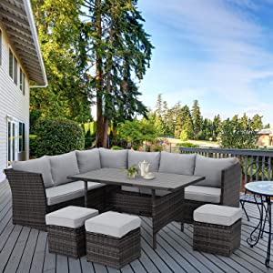 U-MAX 7 Pieces Outdoor Sofa Set, Wicker Rattan Patio Sectional Furniture Sets, Wicker Sectional Patio Set, Patio Dining Furniture with Table&Chair, Gray