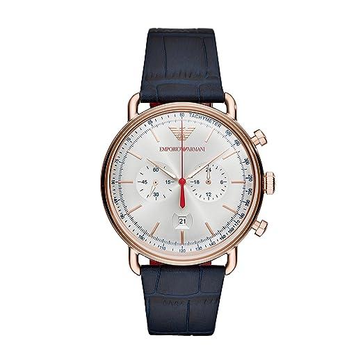 71b2cb211440 Emporio Armani Reloj Cronógrafo para Hombre de Cuarzo con Correa en Cuero  AR11123  Amazon.es  Relojes