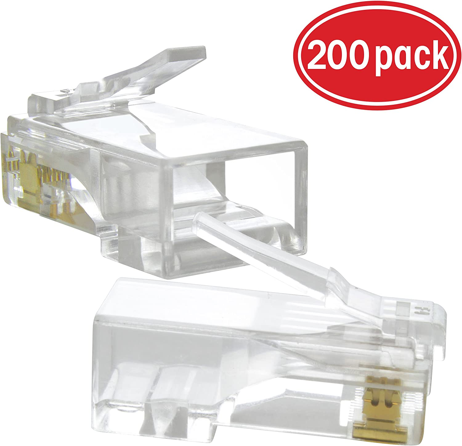 50u Gold-Plated Contacts Crimp Connector GearIT 100-Pack Cat5e RJ45 Modular Plug for Stranded UTP Cat 5e Network Cable