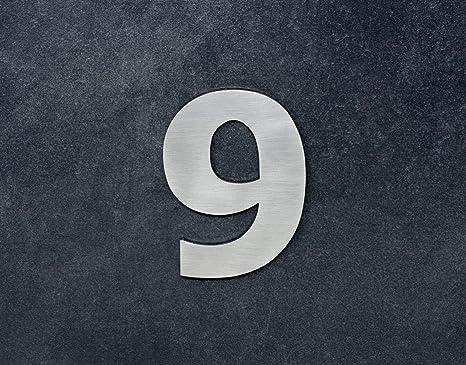 Numero 9, adhesivo,120mm, acero inoxidable AISI 316, casa, portal y exterior