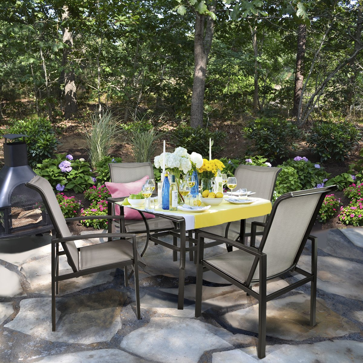 Barton 5-Piece Outdoor Dining Set Square Patio 1 Table Mesh Dining 4 Chairs Yard Patio Furniture Garden UV-Resistant by Barton