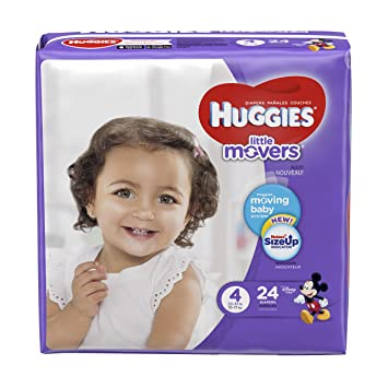HUGGIES LITTLE MOVERS Diapers, Size 4 (22-37 lb.), 24