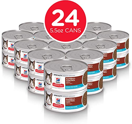 Hill s Science Diet Canned Wet Cat Food, Adult, Hairball Control, Pack of 24