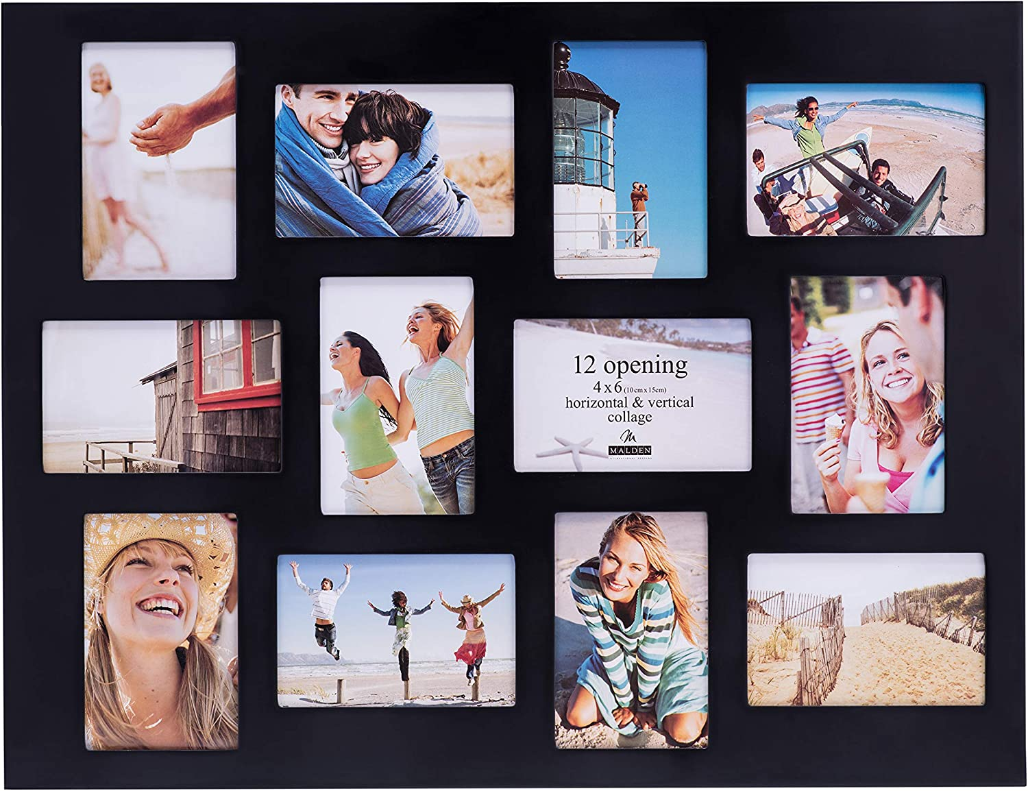 """4x6 Collage Picture Frame Black 2 Set Wooden Multi Photo Frame with White Mat for 4/""""x 6/"""" Pictures 9 Opening"""