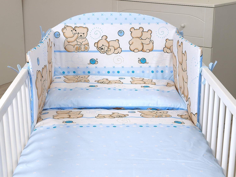 3PCS Baby Bedding Set fit Cot 120x60 or Cot Bed140x70CM Duvet Cover Bumper Blue Cute Teddy, 120X60-MATTRESS Size Pillow case