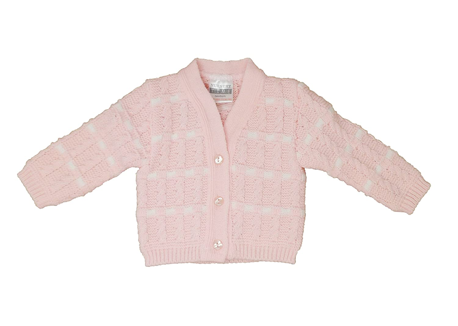 Gorgeous Baby Girls Pink Knitted Cardigan - White Weave Stitch Design