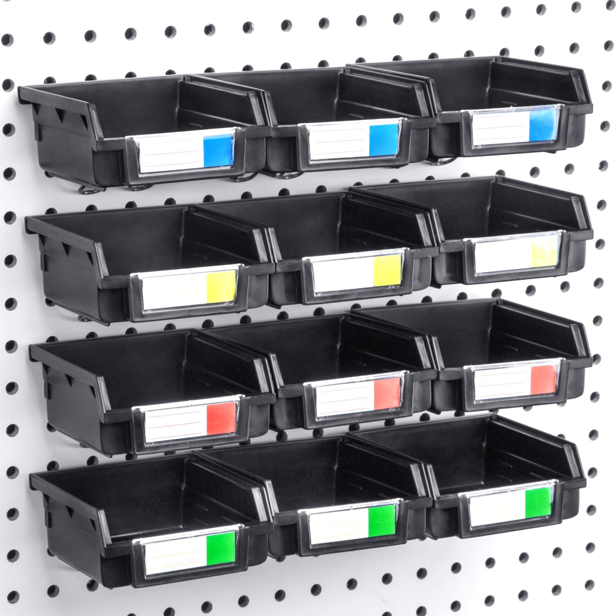 Pegboard Bins - 12 Pack Black - Hooks to Any Peg Board - Organize Hardware, Accessories, Attachments, Workbench, Garage Storage, Craft Room, Tool Shed, Hobby Supplies, Small Parts by Conor Tool