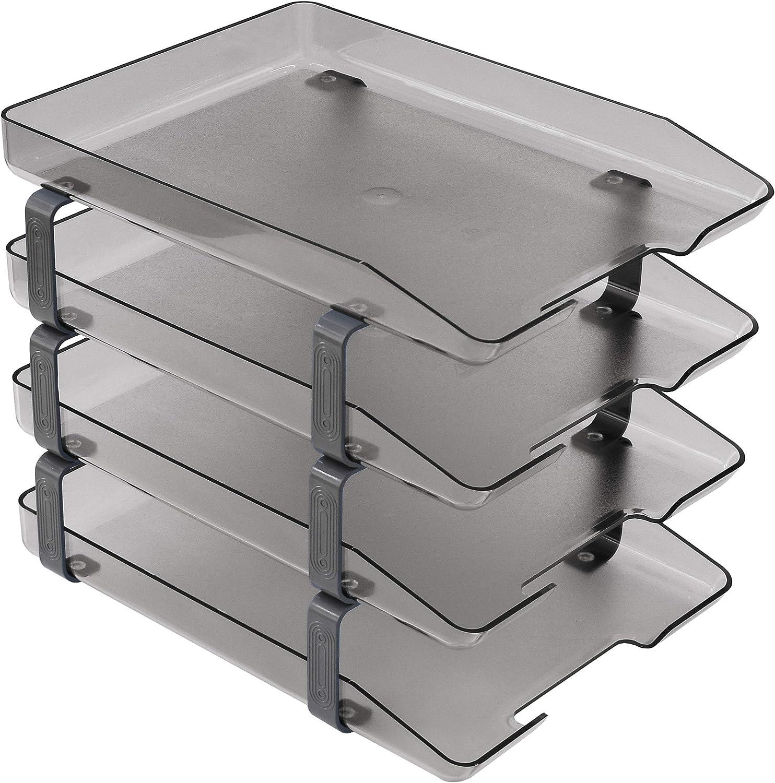 Acrimet Traditional Letter Tray 4 Tier Front Load Plastic Desktop File Organizer (Smoke Color)