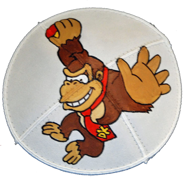 Hand-painted Kippah Yarmulke with Donkey Kong