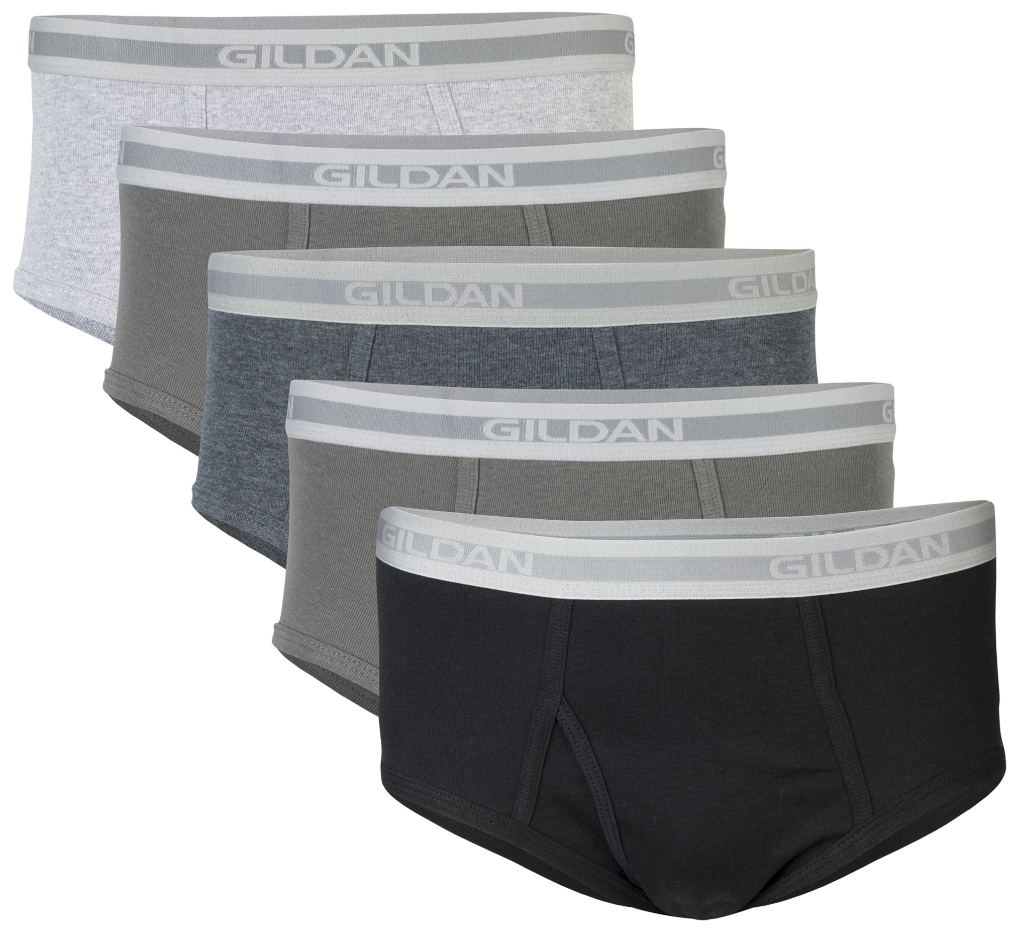 Gildan Men's Brief 6-Pack Underwear, Grey/Black, Medium by Gildan