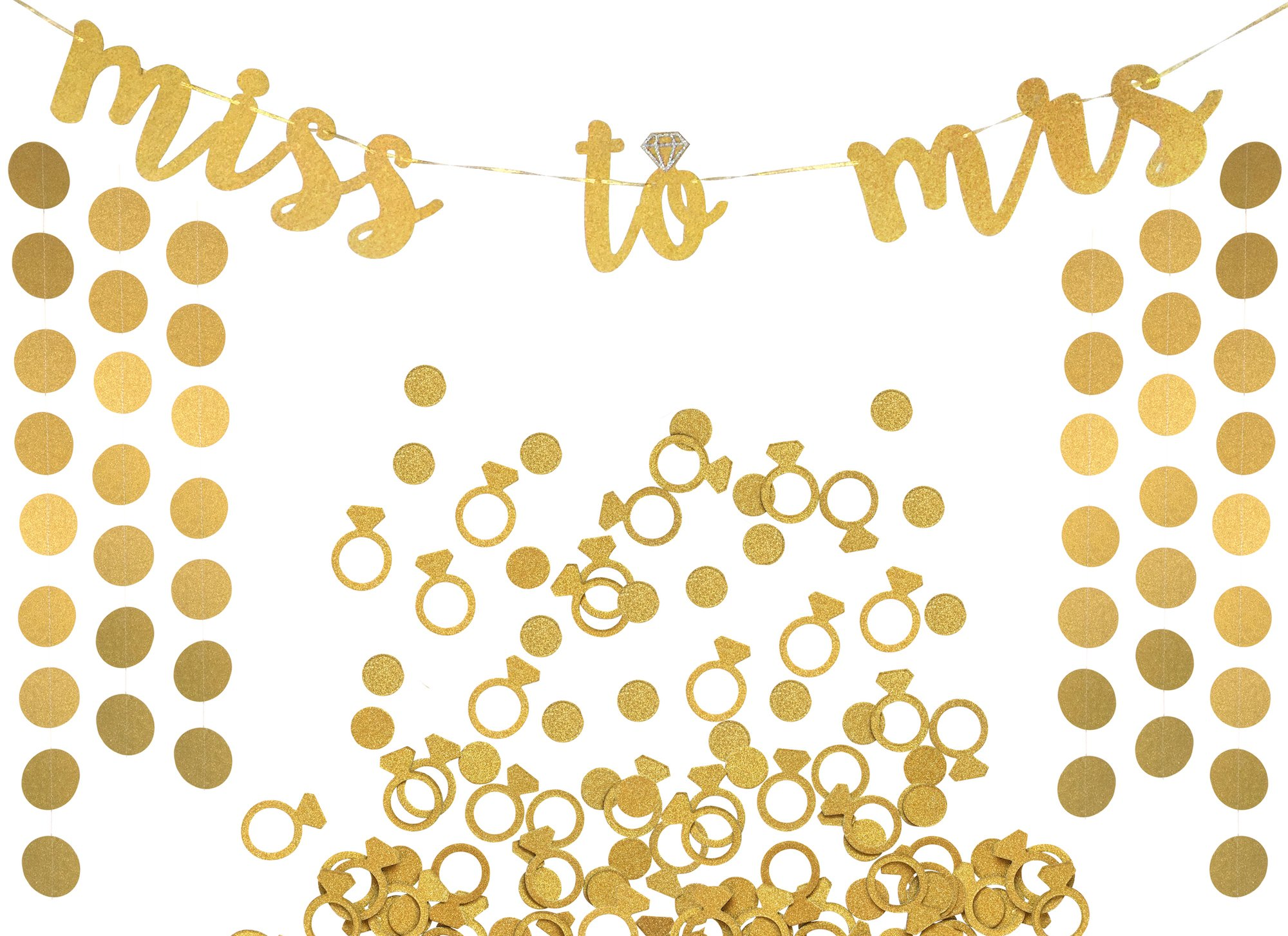 Miss to Mrs Banner, Garland & Confetti Set - Bachelorette, Engagement or Wedding Party Decorations - Sparkly Gold Banner, Circle Garland & Super Fun Diamond Ring & Circle Confetti