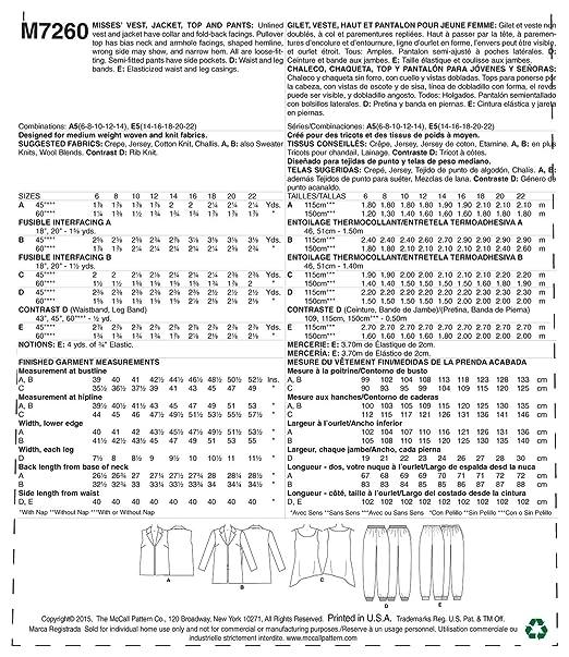 Amazon.com: McCalls Patterns M7260 Misses Vest, Jacket, Top & Pants, E5 (14-16-18-20-22): Arts, Crafts & Sewing