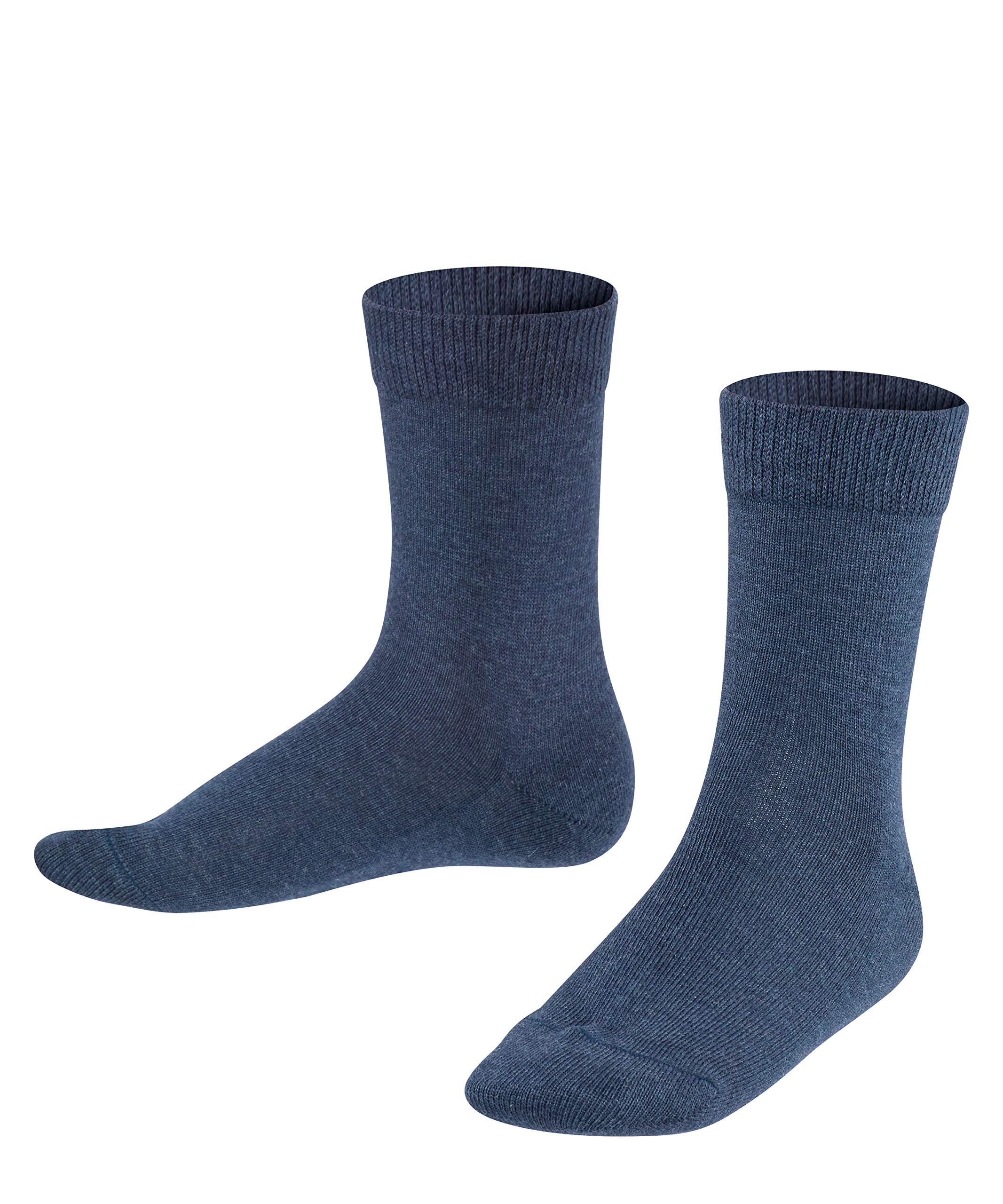 FALKE Unisex Kids Family Socks Cotton Black Grey More Colours Thin Calf Socks For Boys Or Girls Classic All Seasons Plain Pattern For School Or Casual Looks 1 Pair