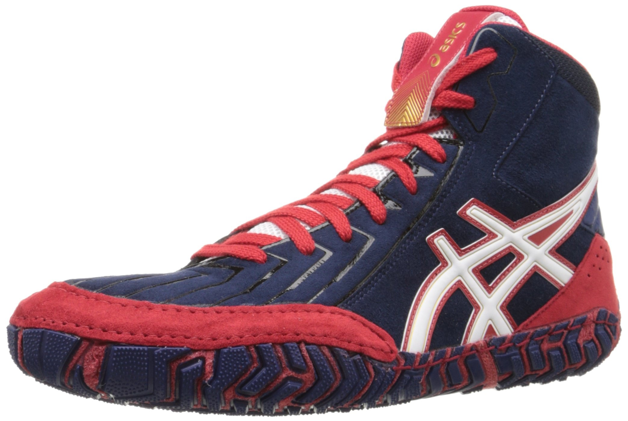 ASICS Men's Aggressor 3 Wrestling Shoe, Estate Blue/White/True Red, 10.5 M US