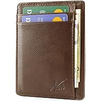 NUCCI DESIGN Portafoglio Uomo sottile in Vera Pelle-Porta Carte di Credito con Protezione RFID-Compatto e Spazioso