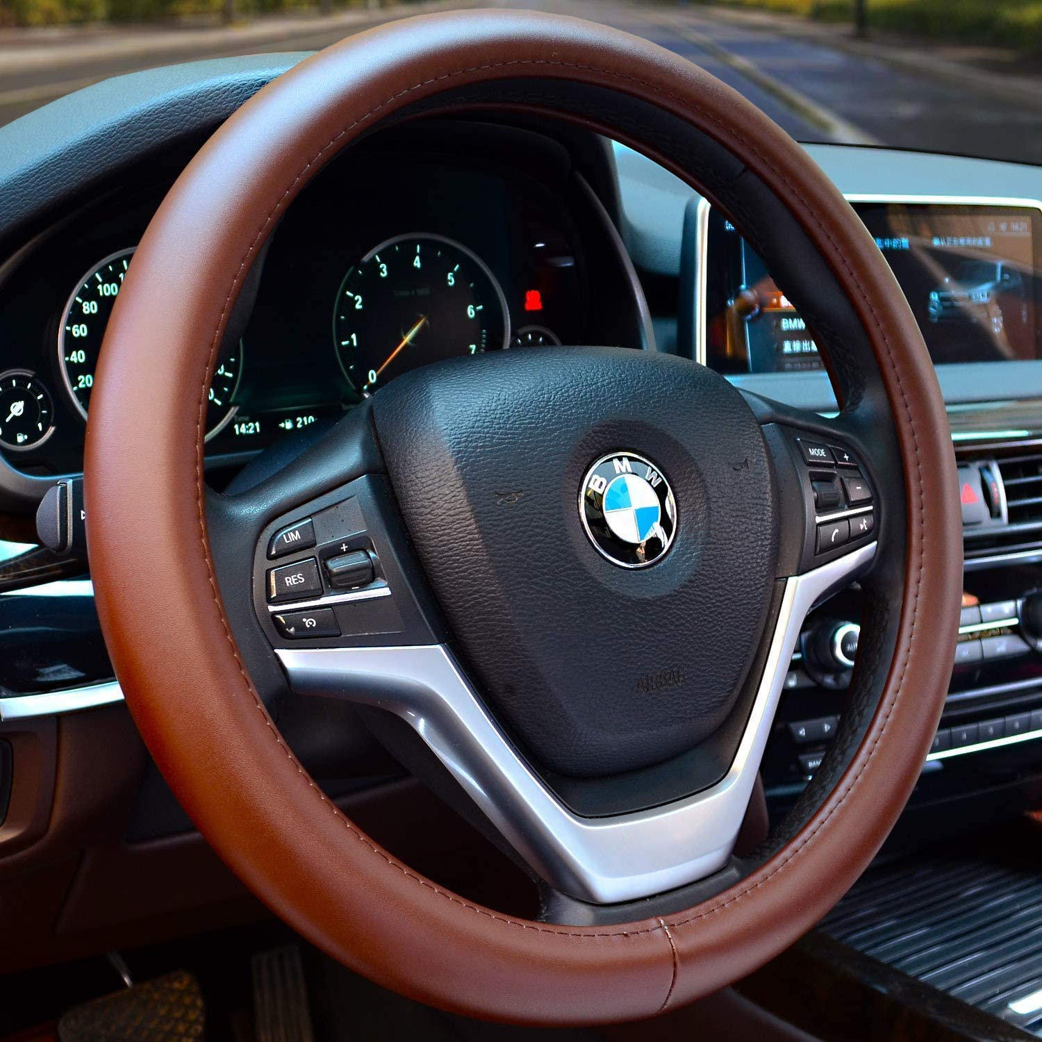 Valleycomfy Car Steering Wheel Cover with Genuine Leather