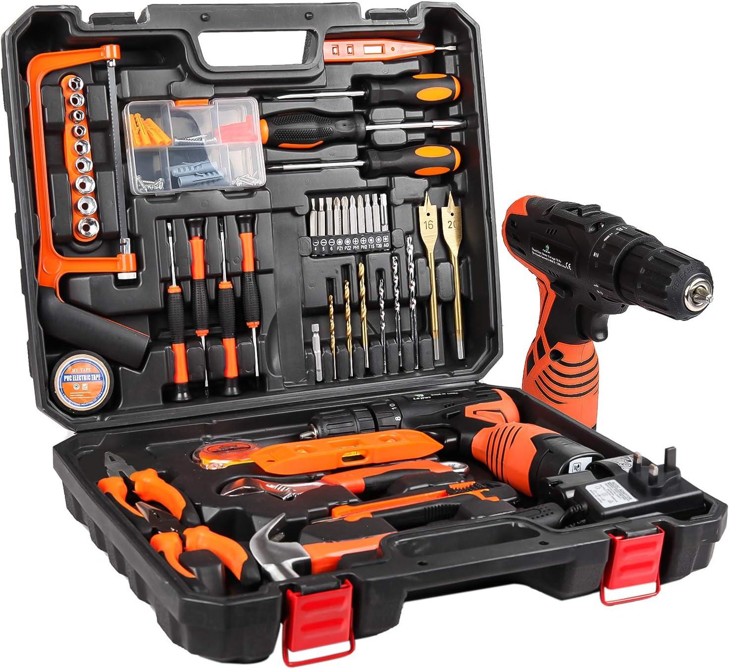Letton - Kit de herramientas con taladro inalámbrico de 16,8 V para 60 accesorios: Amazon.es: Bricolaje y herramientas