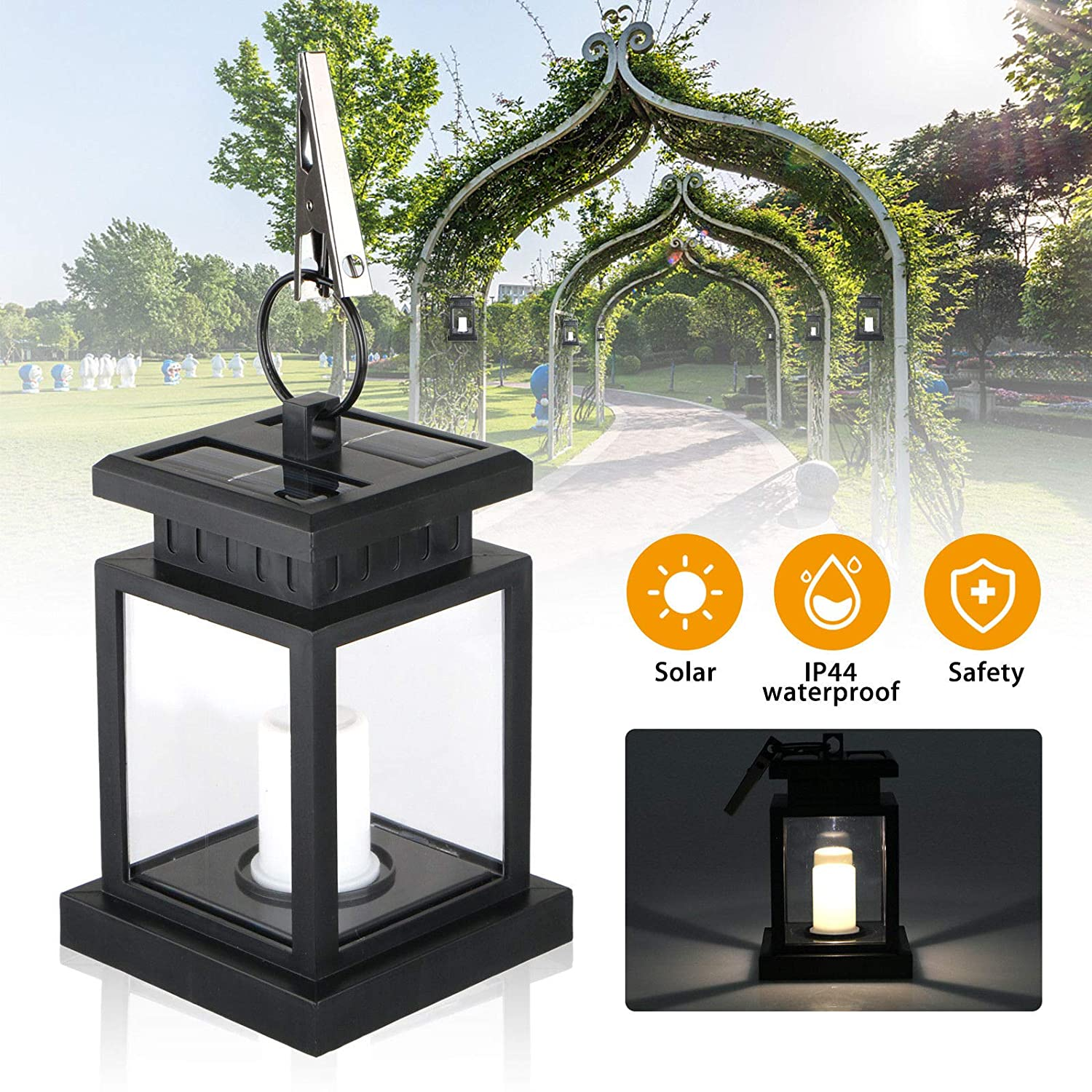 Waterproof Solar Lights for Garden Decoration Flickering Flameless Candle Outdoor Lighting Smokeless Solar Lantern for Camping