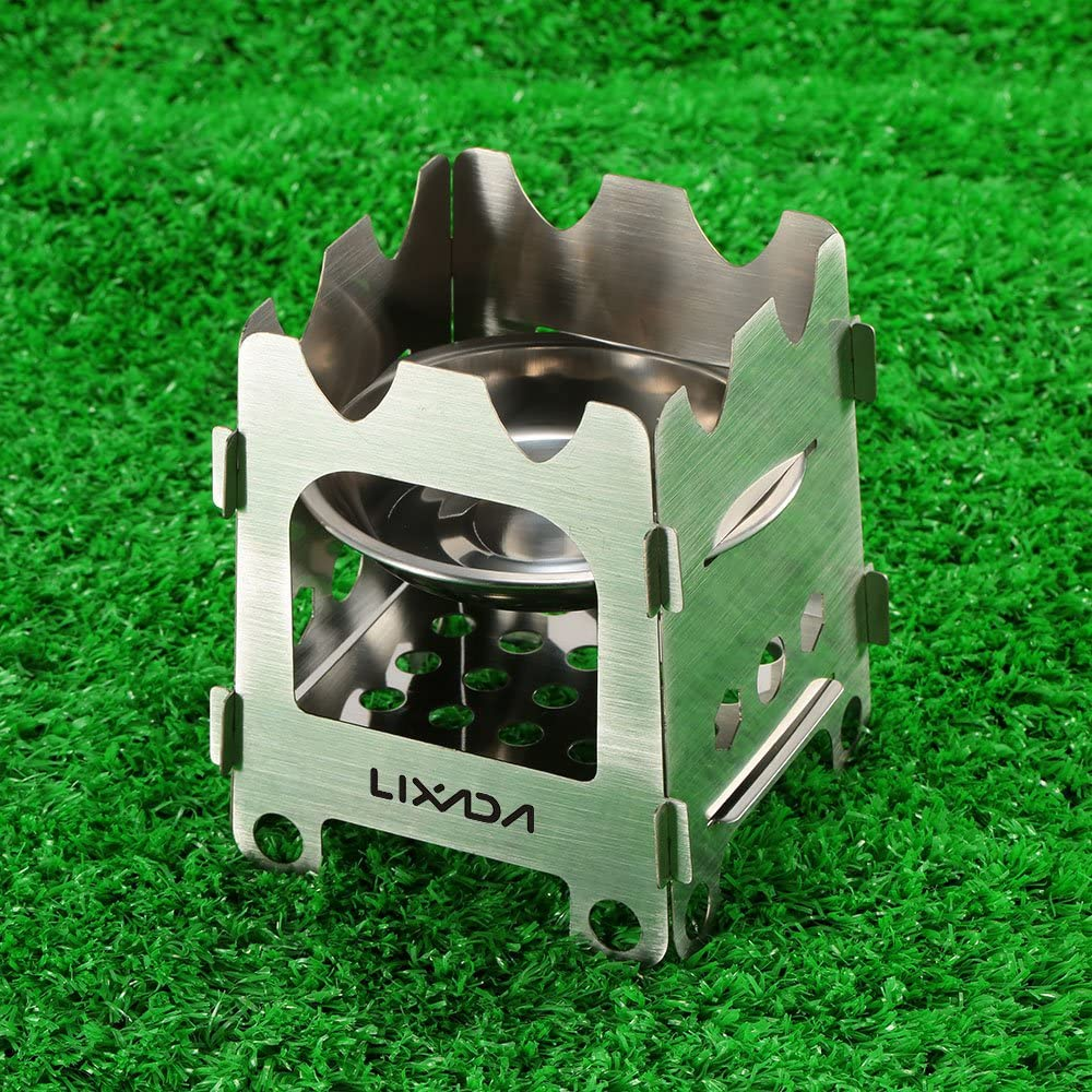Lixada Camping Stove Stainless Steel Lightweight Wood Stove Alcohol Stove Burner for Portable Outdoor Camping Cooking Picnic BBQ