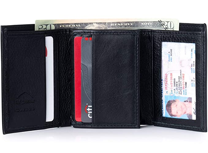 d490cf5f Mens Trifold Wallet Extra Capacity 10 Inside Slots 2 ID Windows By Alpine  Swiss