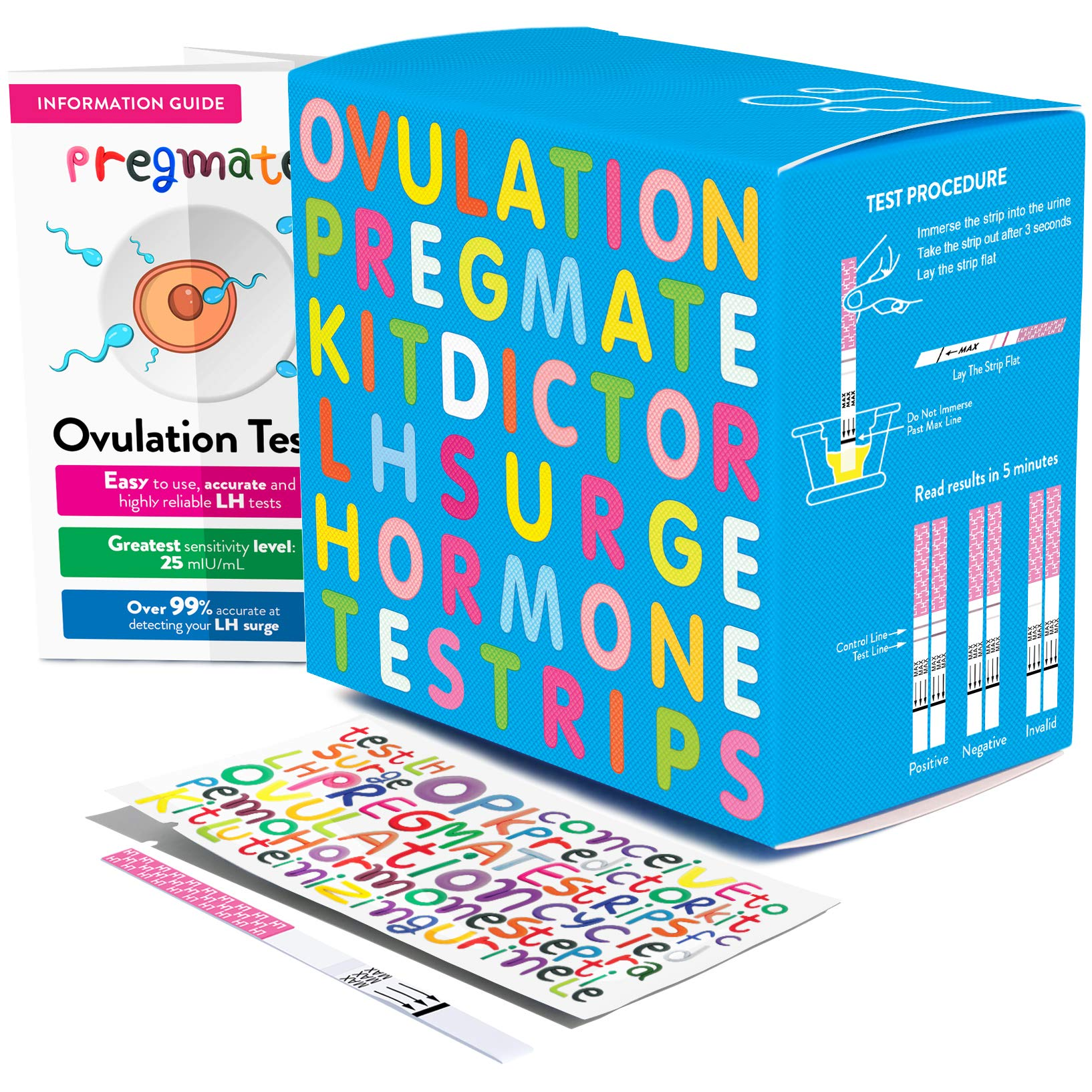 PREGMATE 60 Ovulation Test Strips OPK LH Surge Predictor Kit (60 LH) by PREGMATE