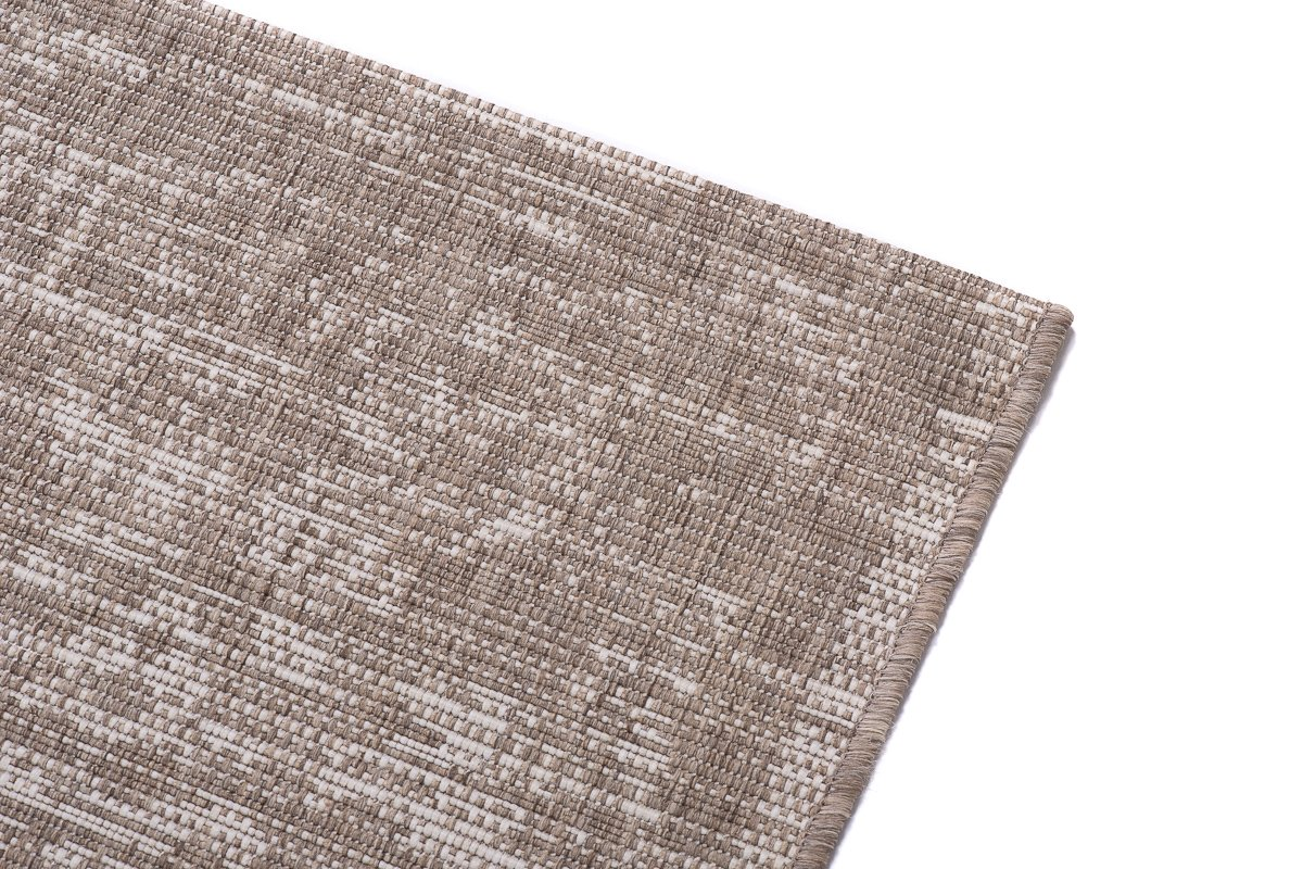 Tapiso Tapiso Tapiso FLOORLUX Teppich Flachgewebe Strapazierfähig Sisal Optik Hellbraun Beige Creme Abstrakt Kreise Muster Bordüre Designer Küche 140 x 200 cm ed4302