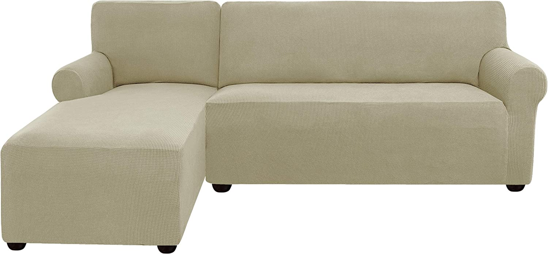 subrtex Funda Sofa Chaise Longue Brazo Izquierdo Elastica Protector para Sofa Chaise Longue Antimanchas Ajustable (Arena)
