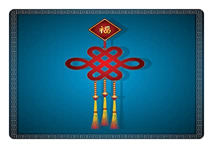ambesonne chinese new year pet mat for food and water festival decorations theme hanging knot