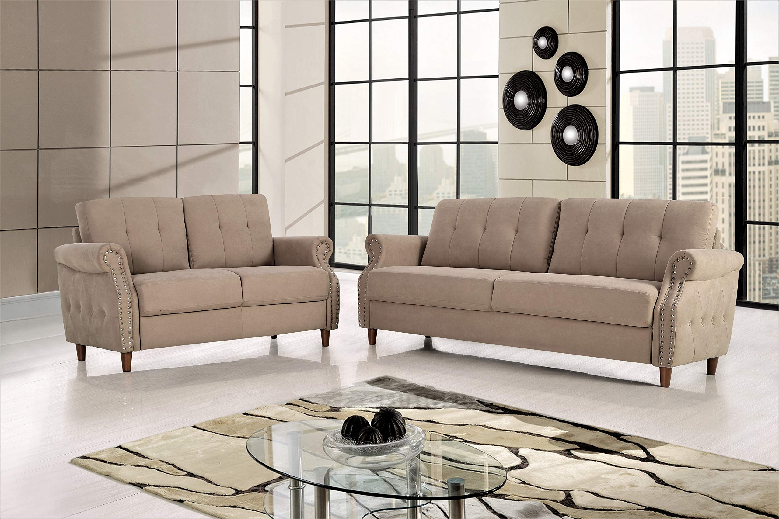 US Pride Furniture Living room set, Sofa and Loveseat, Camel by US Pride Furniture