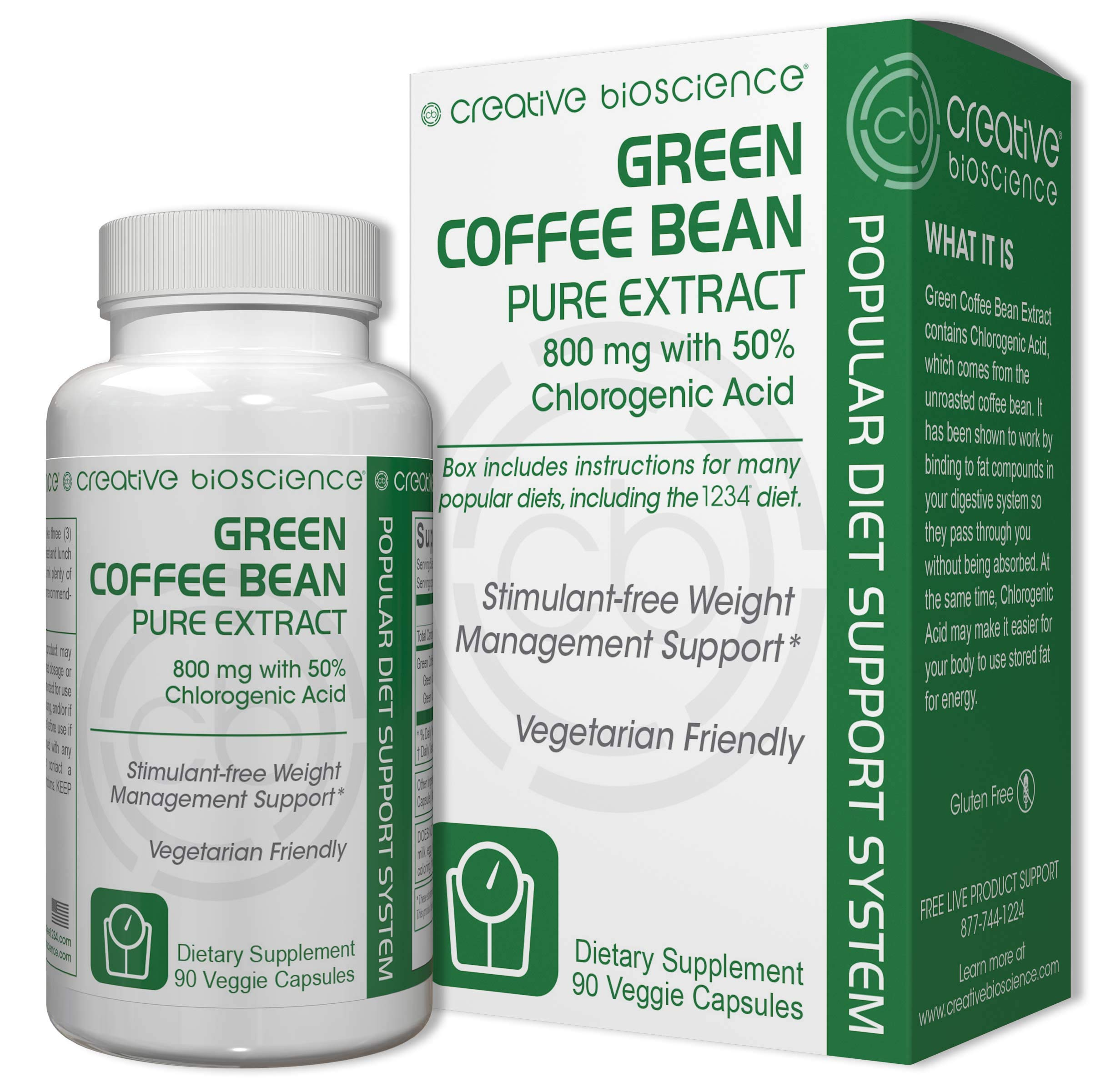 Creative Bioscience Bean Pure Extract Diet Supplement, Green Coffee, 60 Count