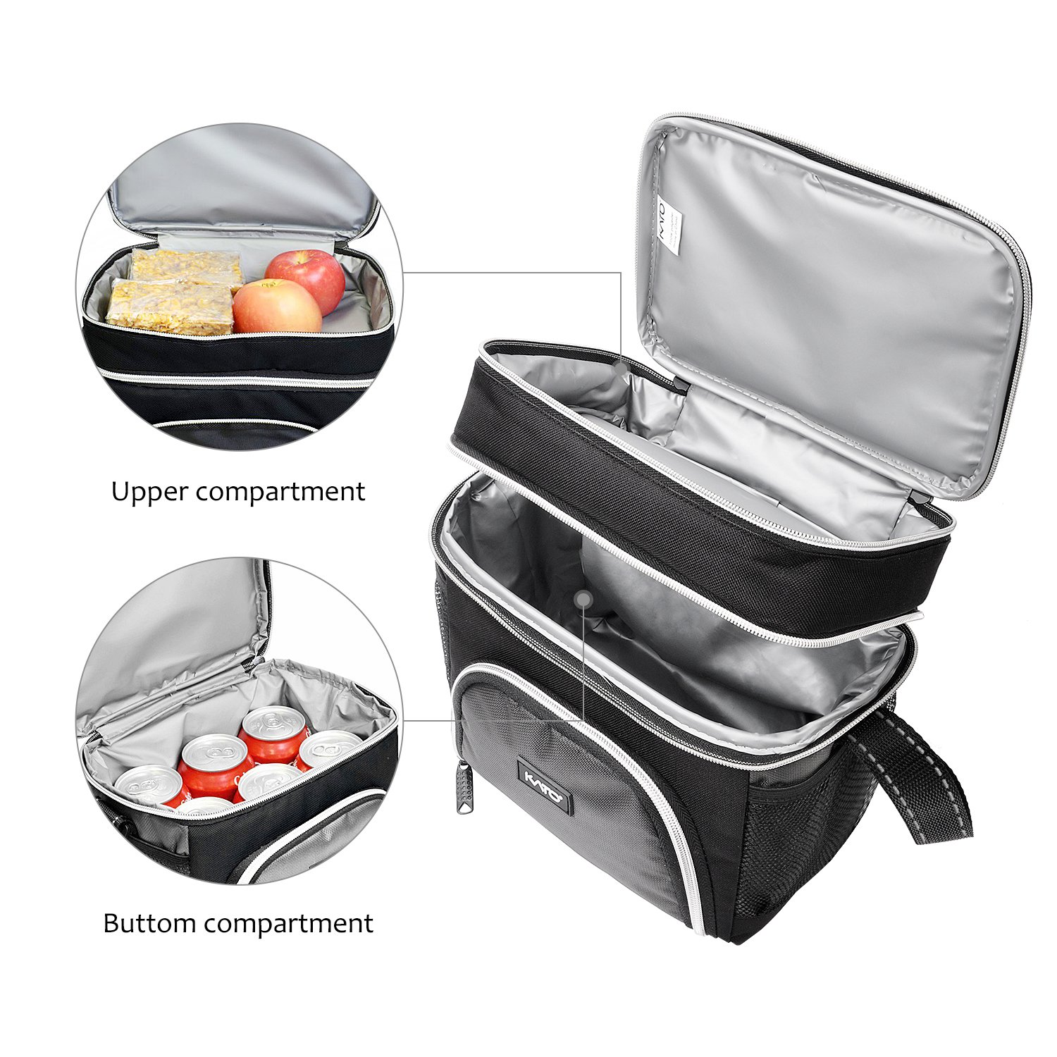 Insulated Lunch Cooler Bag, Kato Adult Dual Compartment Reusable Bento Lunch Box Tote with Shoulder Strap, Grey