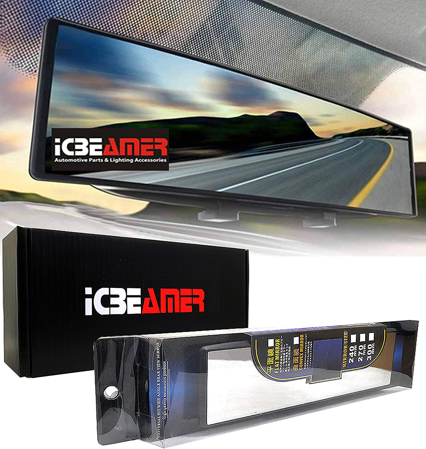 """ICBEAMER 11.8"""" 300mm Easy Clip on Wide Angle Panoramic Blind Spot Fit Auto Interior Rearview Mirror Convex Clear Surface"""