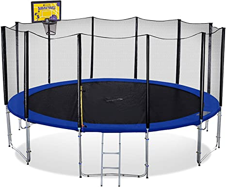 Exacme Outdoor Trampoline with Basketball Hoop and Enclosure Ladder