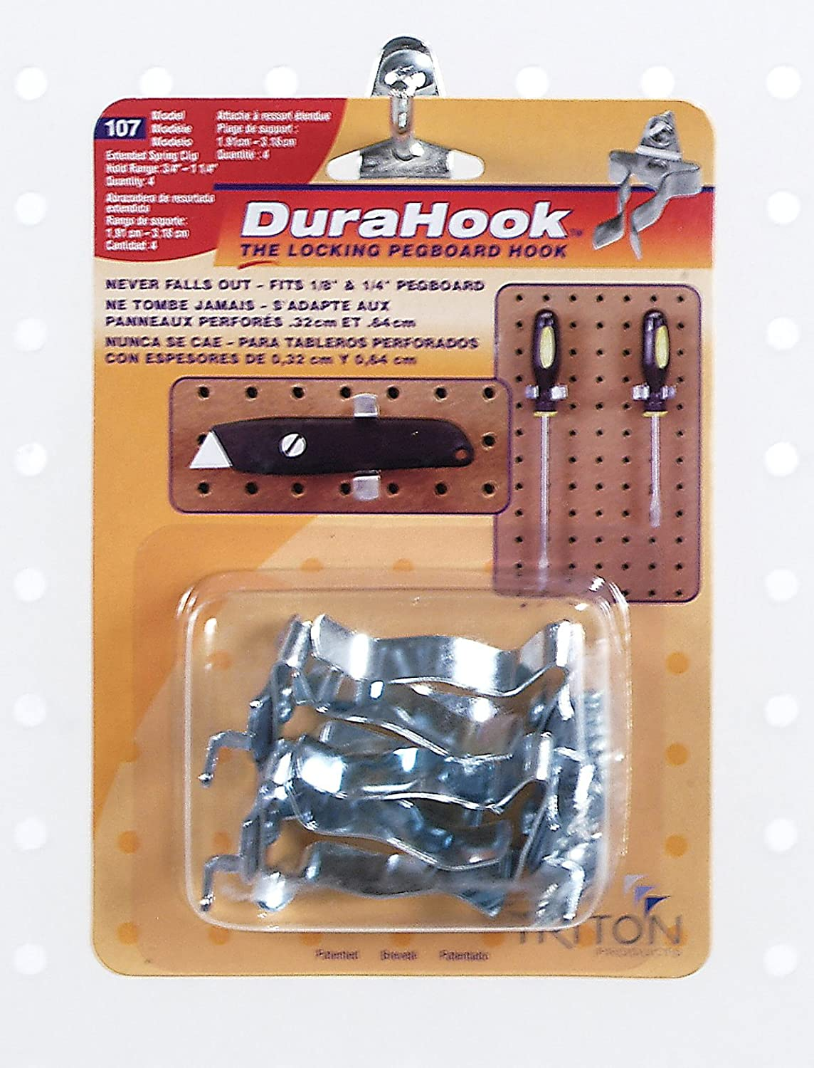 Triton Products 3 4 In. to 1 1 4 In. Hold Range Zinc Plated Chromate Dipped Steel Extended Spring Clip for DuraBoard or 1 8 In. and 1 4 In. Pegboard 3 Pack