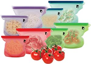 8 Reusable Silicone Storage Bags for food (Multicolor, L&S)