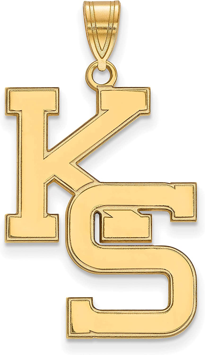 10k Yellow Gold Kansas State University Wildcats School Letters Logo Pendant 25x19mm