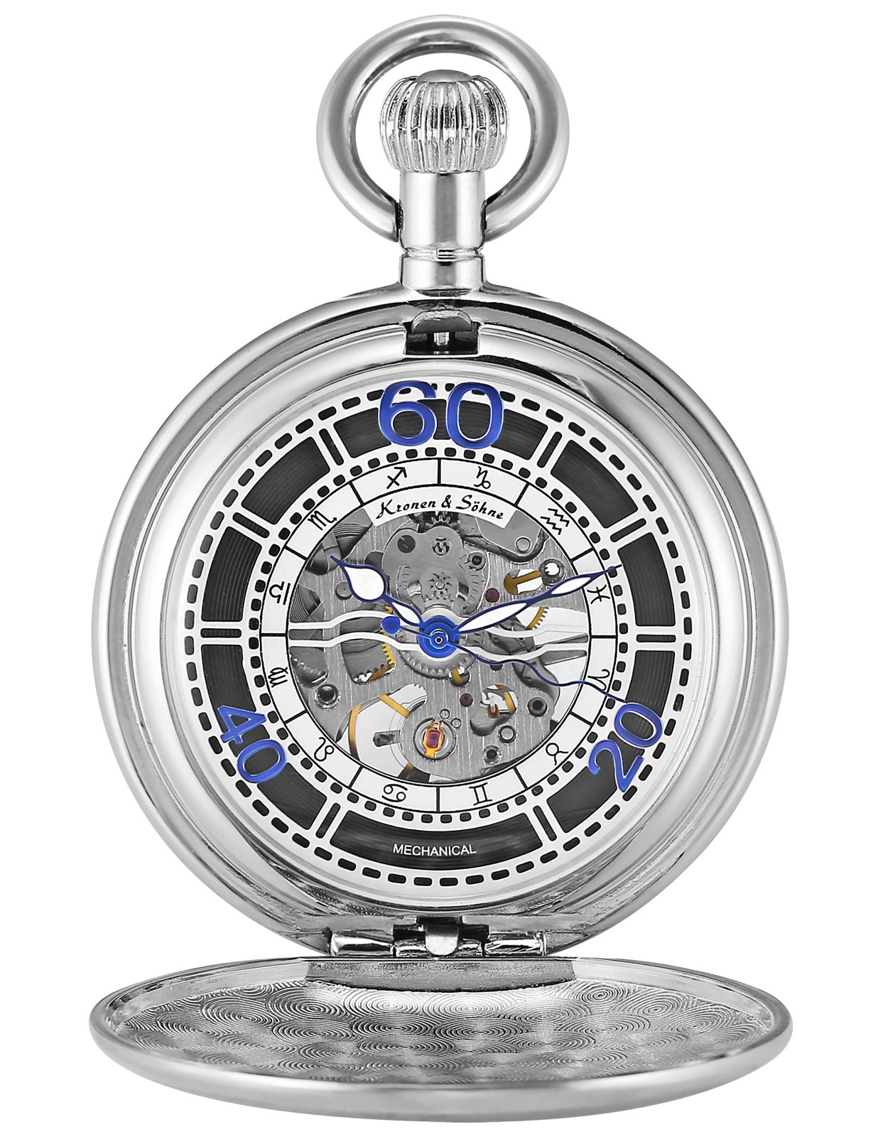 KS Full Hunter Constellation Markers Skeleton Mechanical Pocket Watch KSP075