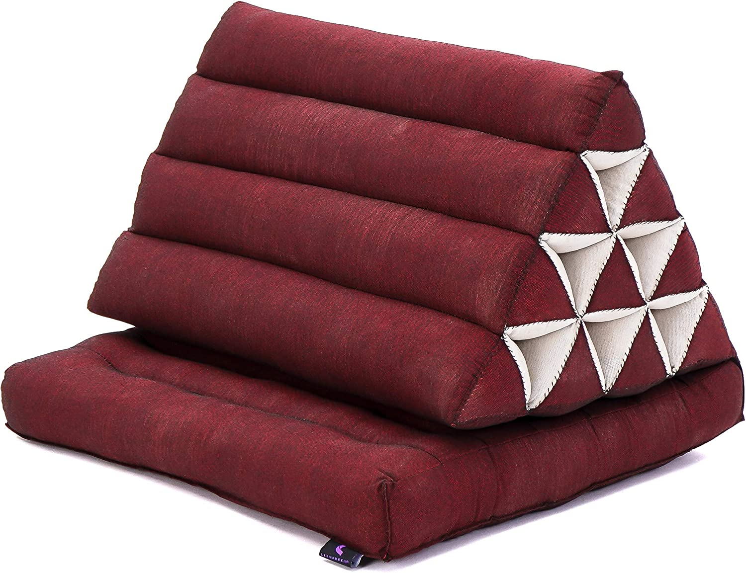 Leewadee Foldout Triangle Thai-Cushion Floor-Seat with Back-Rest Reading Pillow TV Pillow Lounge-r Foldable Out-Door Mattress, 30x20x16 inches, Kapok, red