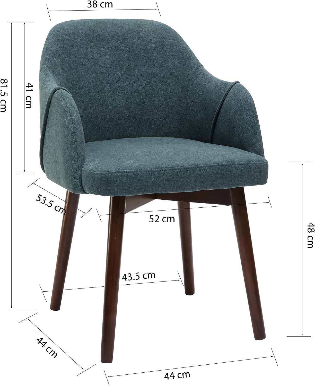 By Demeyere « Jude » Fauteuil de Salle à Manger Moderne en Tissu Bleu Canard et Pieds métal Couleur Noyer 52x53,5x81,5 cm