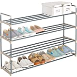 WOLTU 4 Shelves Stackable Shoes Storage Rack for Closet Entryway Organizer with Metal Rolling Shoe Tower