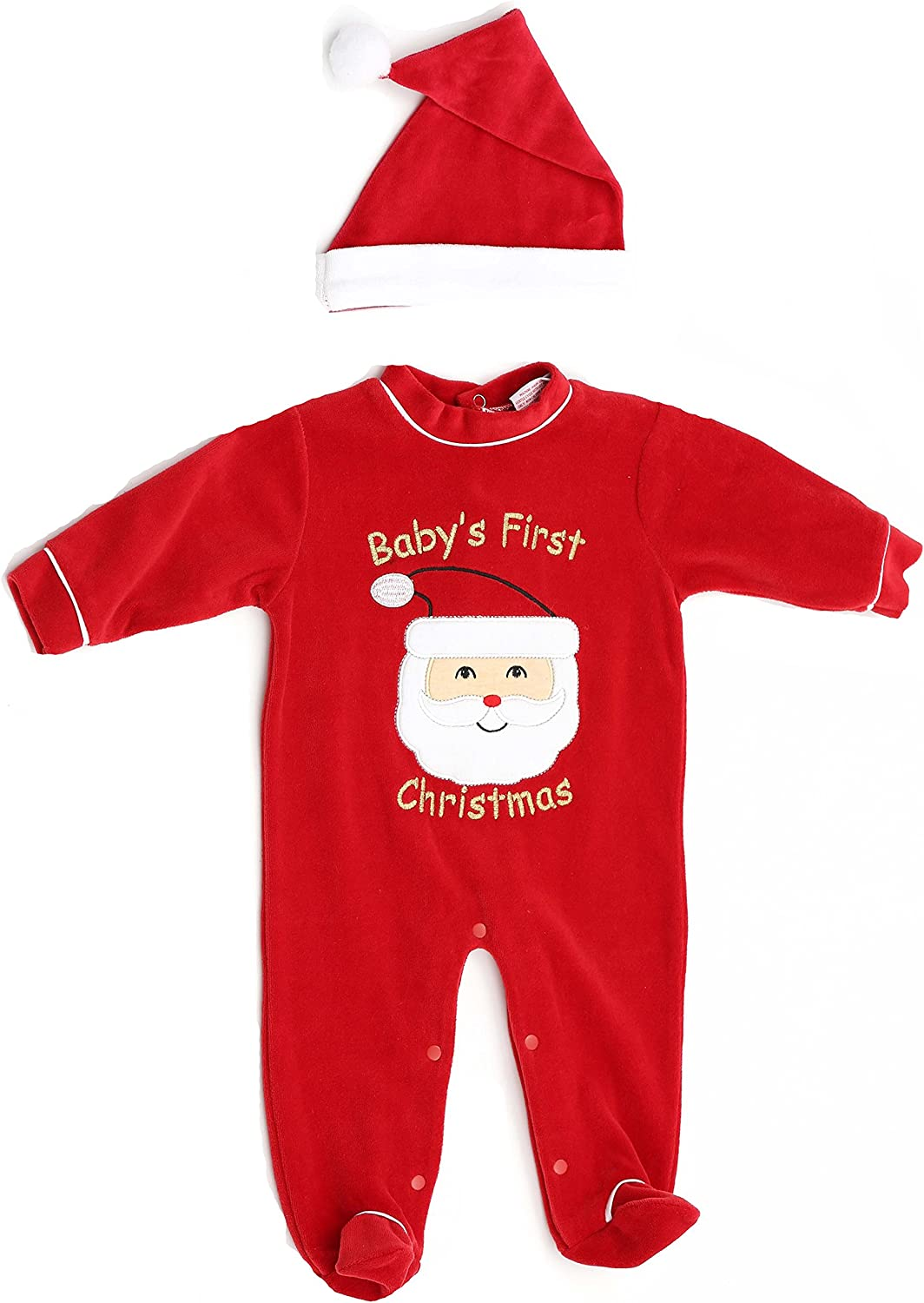 Just Love Christmas Coverall for Baby & Infant with Matching Santa Hat