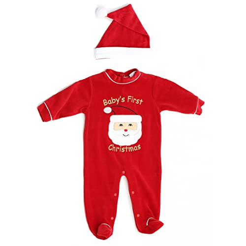 Just Love Christmas Coverall for Baby & Infant with Matching Santa Hat - Babies First Christmas Outfit Boy: Amazon.com