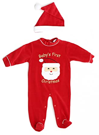 035ef138f97f Amazon.com  Just Love Christmas Coverall for Baby   Infant with Matching  Santa Hat  Clothing